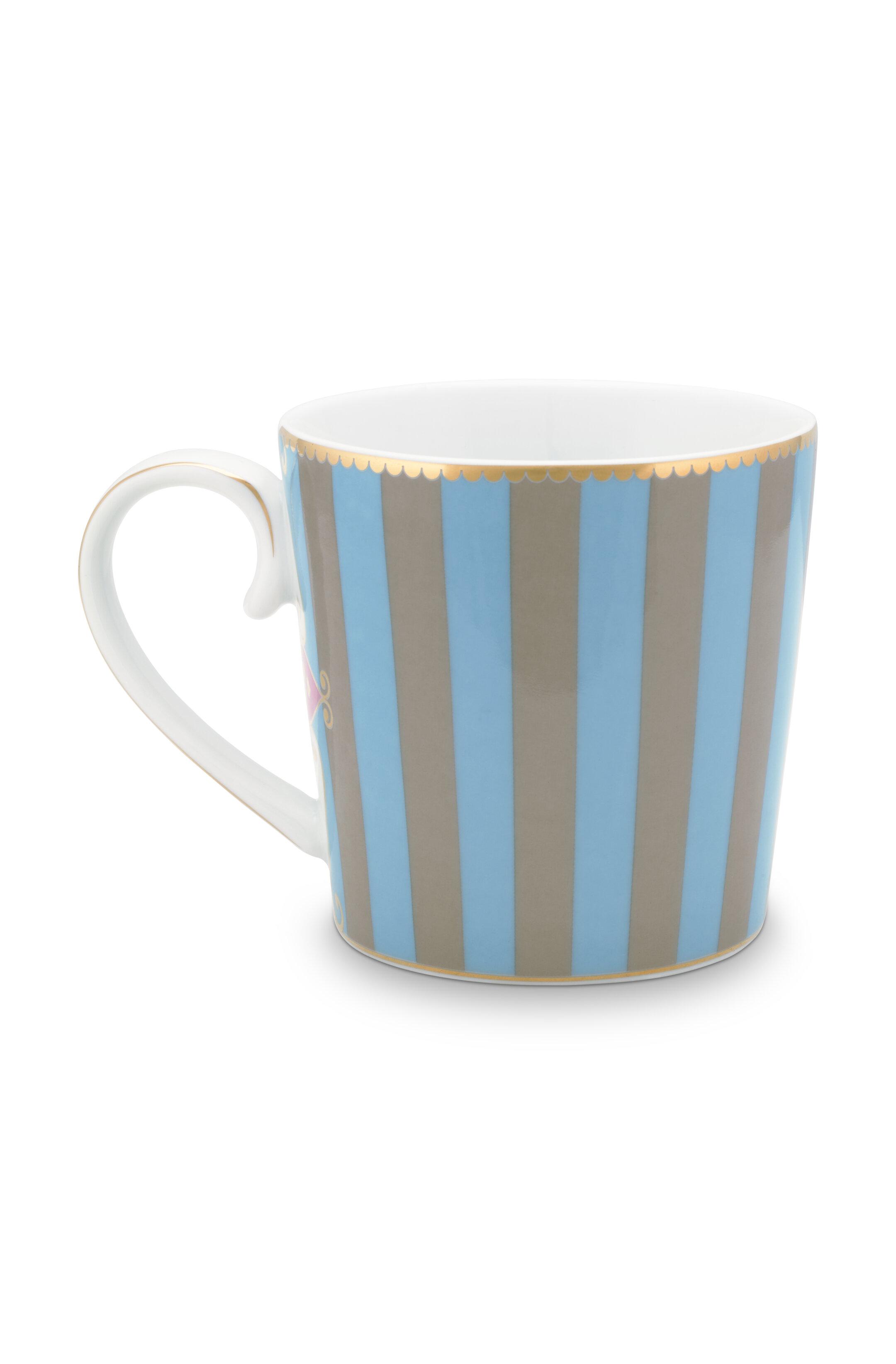 Pip Studio Love Birds Tasse Groß Stripes Blau-Khaki