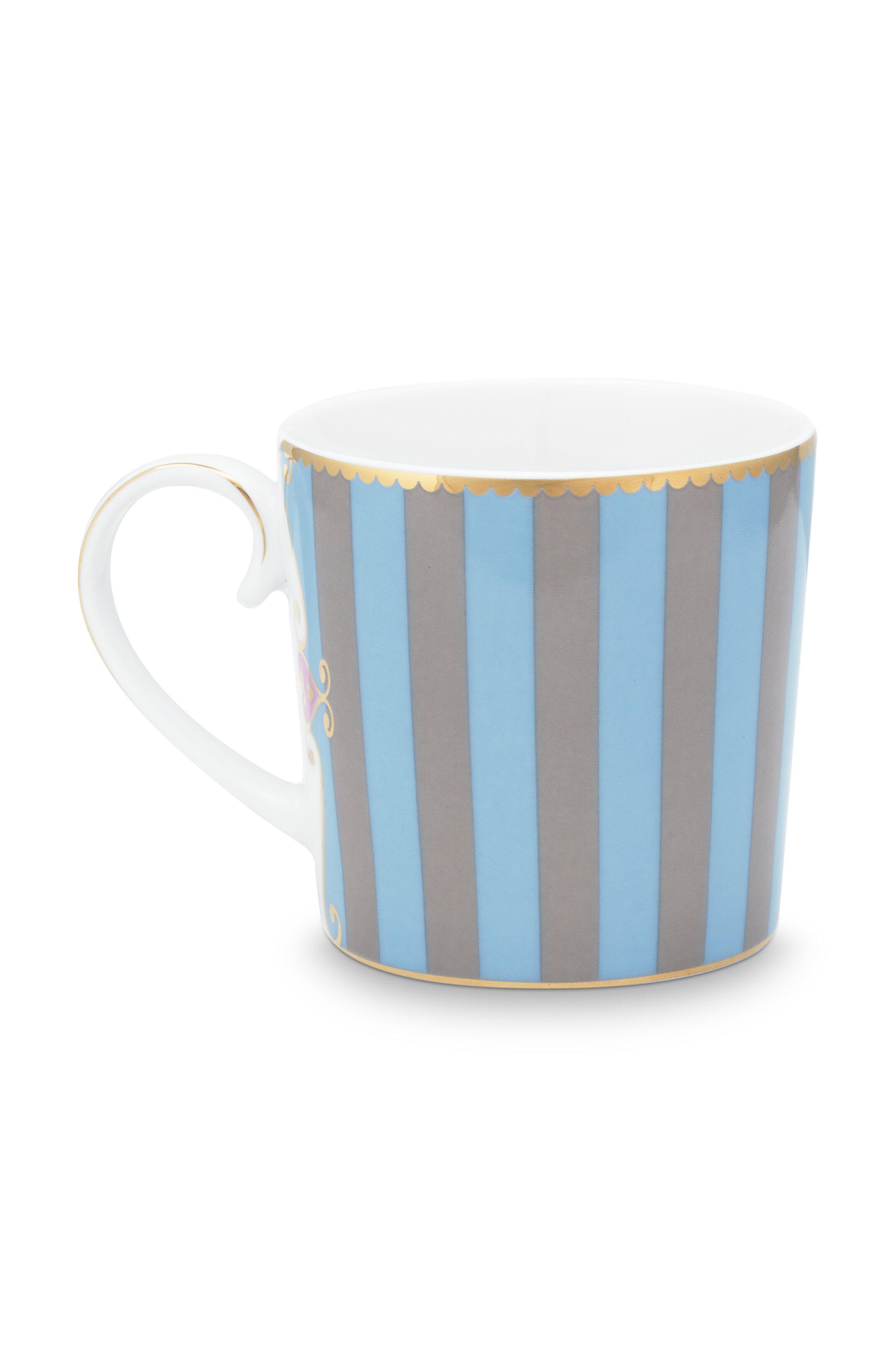 Pip Studio Love Birds Tasse Klein Stripes Blau-Khaki