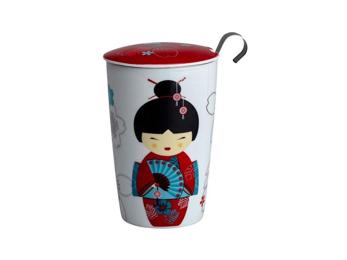 Deckeltasse Geisha (rot)
