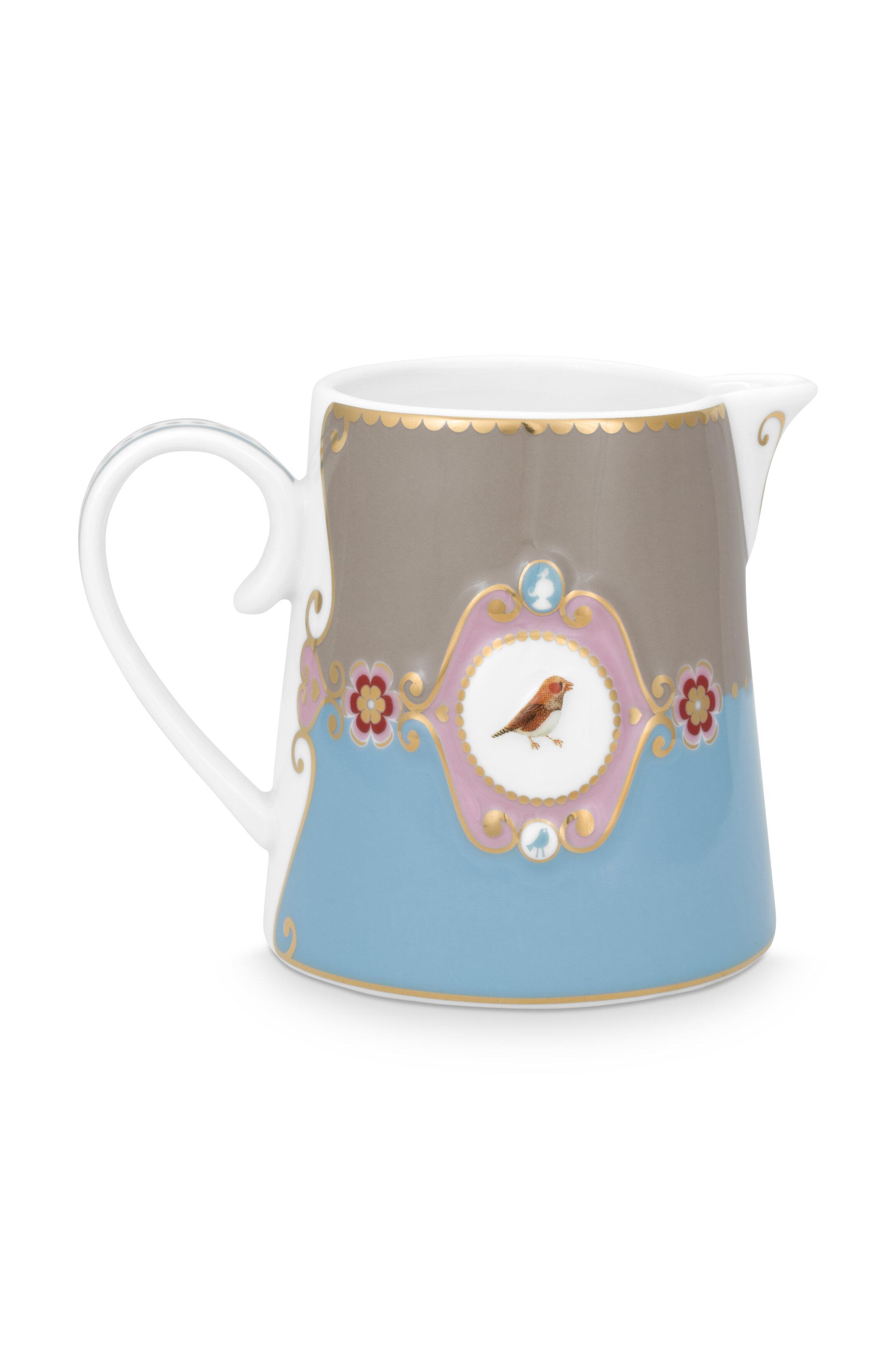 Pip Studio Love Birds Kanne Klein Medaillon Blau-Khaki