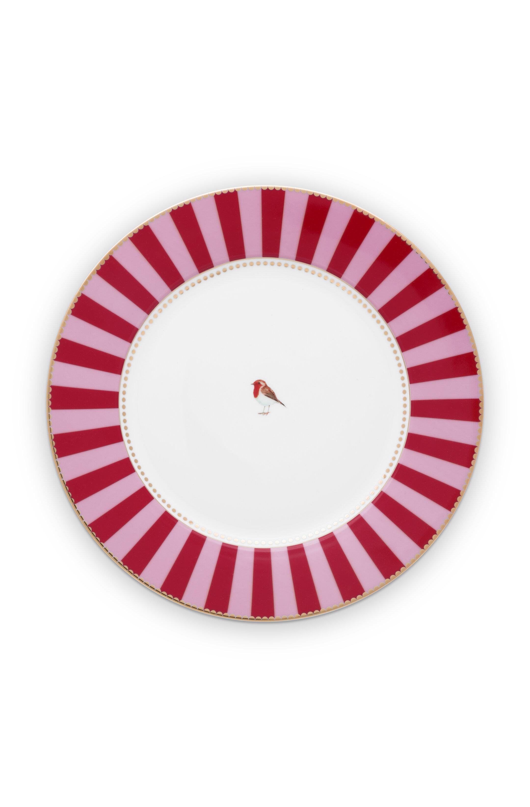 Pip Studio Love Birds Teller Stripes Red-Pink (26.5cm)