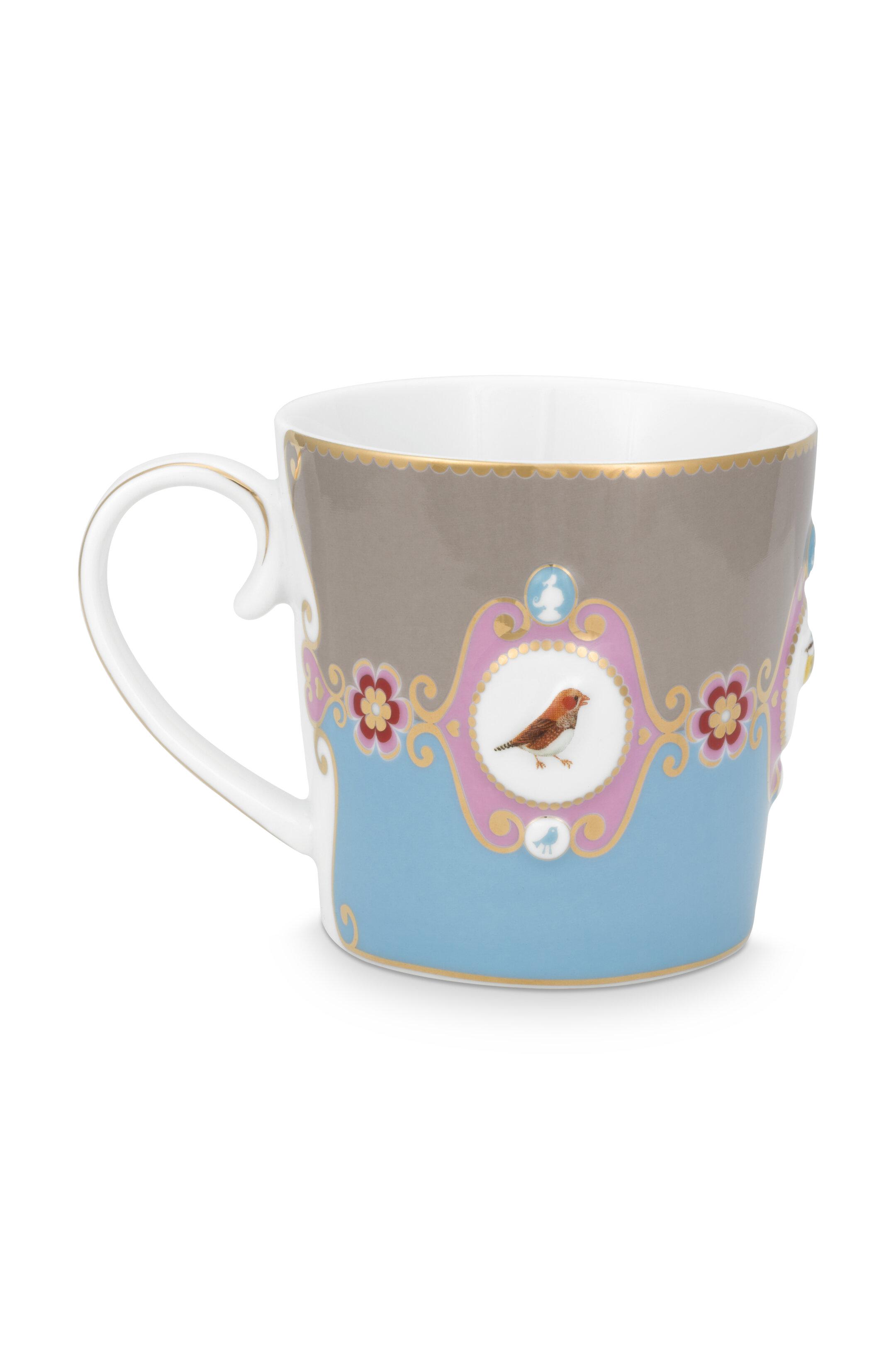 Pip Studio Love Birds Tasse Klein Medaillon Blau-Khaki