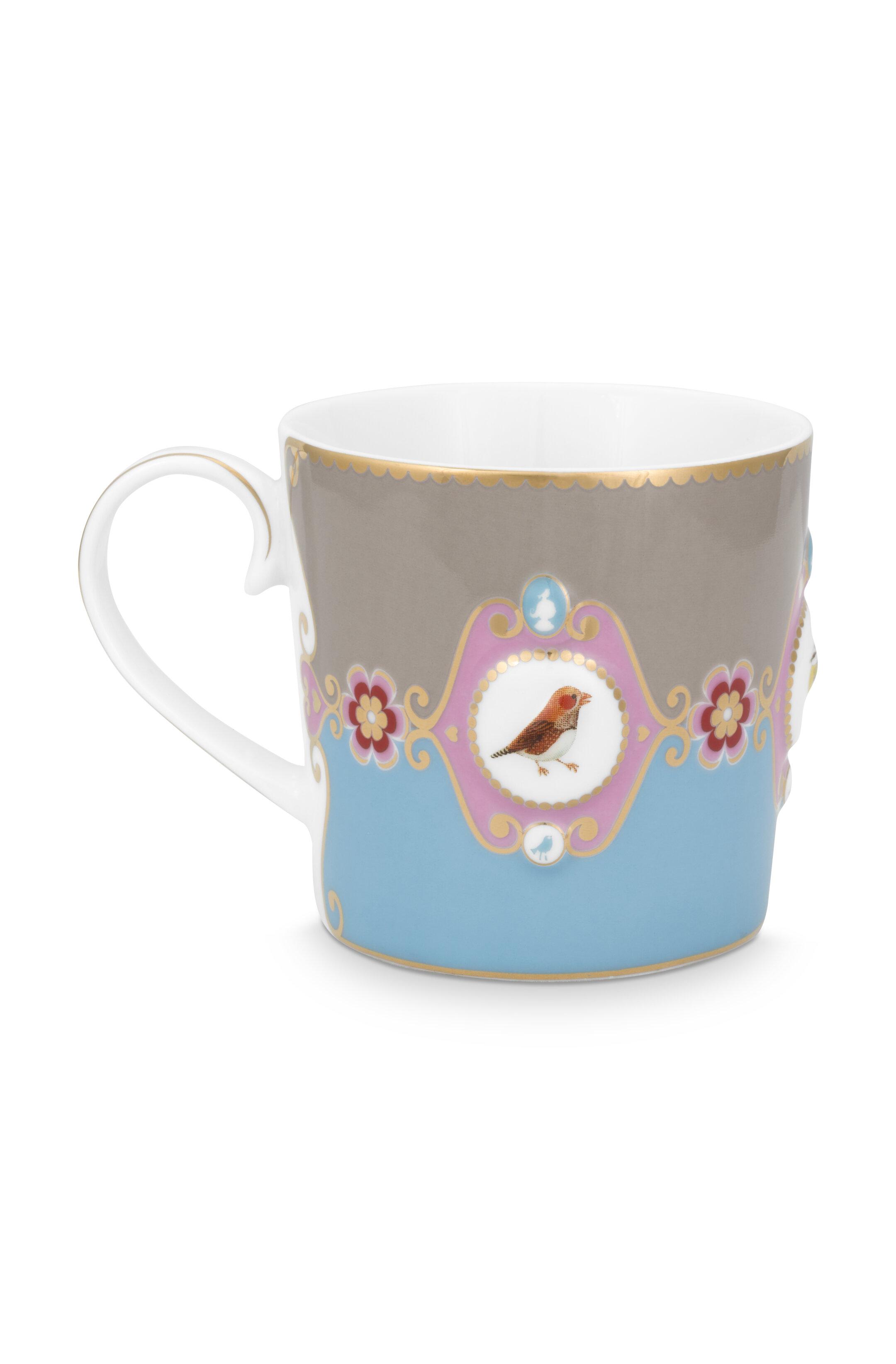 Pip Studio Love Birds Tasse Groß Medaillon Blau-Khaki
