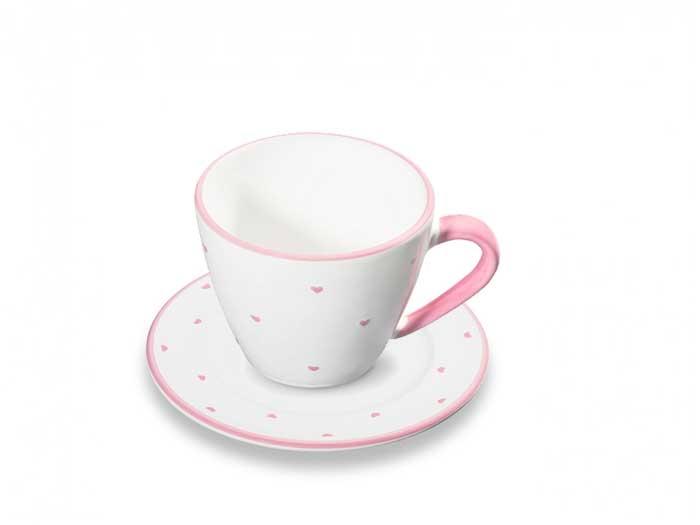 Gmundner Tasse mit Untertasse Rosa Herzerl (0,2 l)