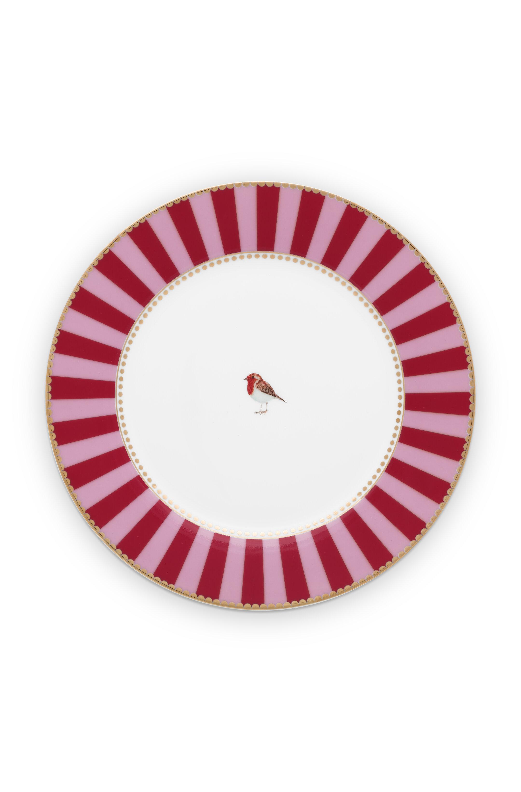 Pip Studio Love Birds Teller Stripes Red-Pink (21cm)