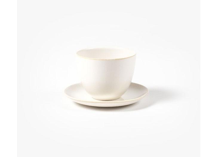 """Tasse mit Untertasse """"Pebble"""" von Kinto weiß"""