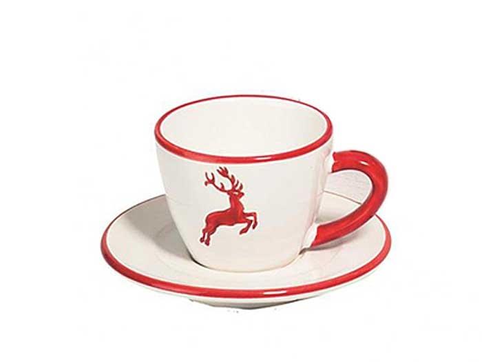 Gmundner Tasse mit Untertasse Roter Hirsch (0,2 l)