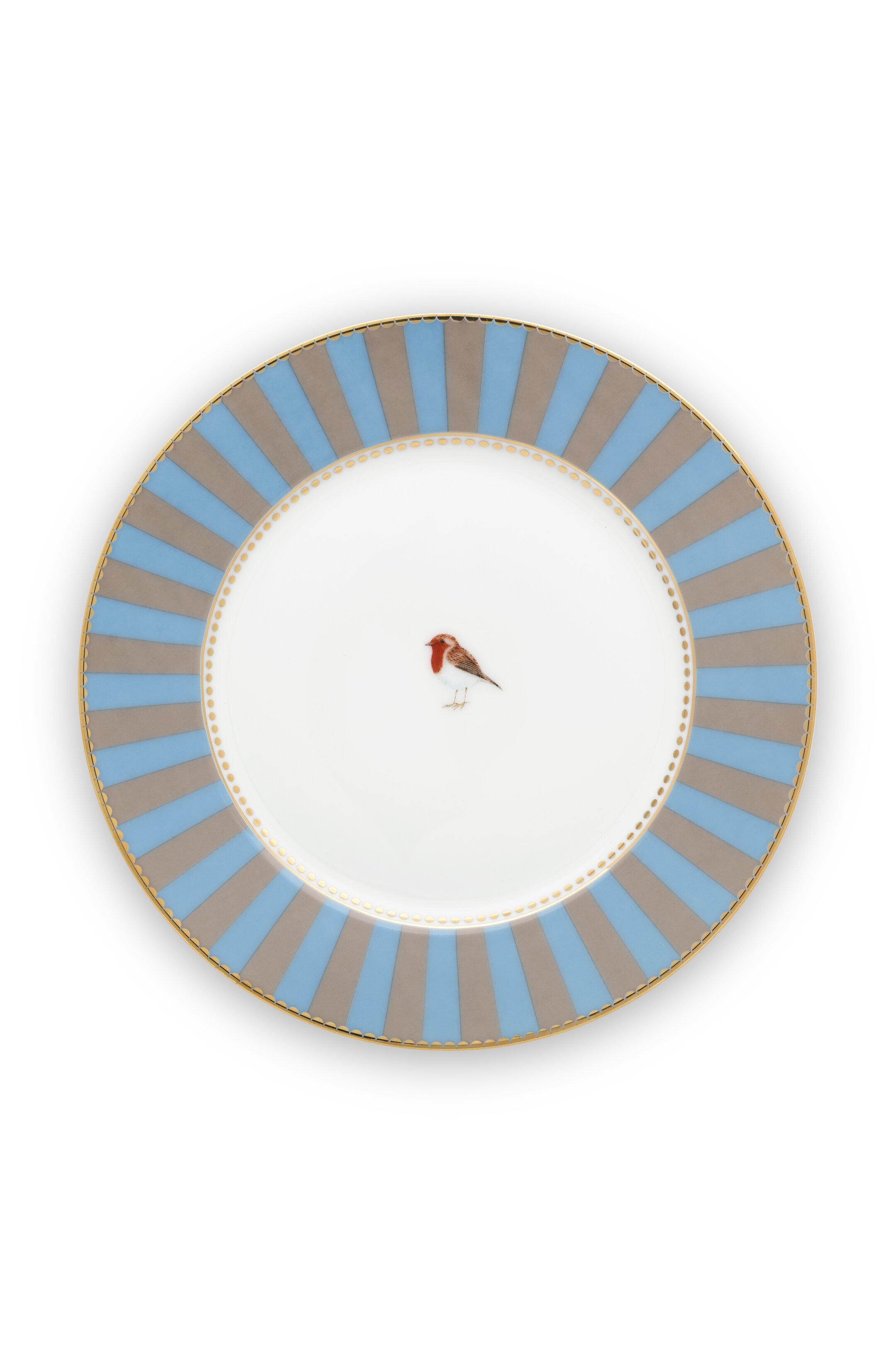 Pip Studio Love Birds Teller Stripes Blue-Khaki (17cm)