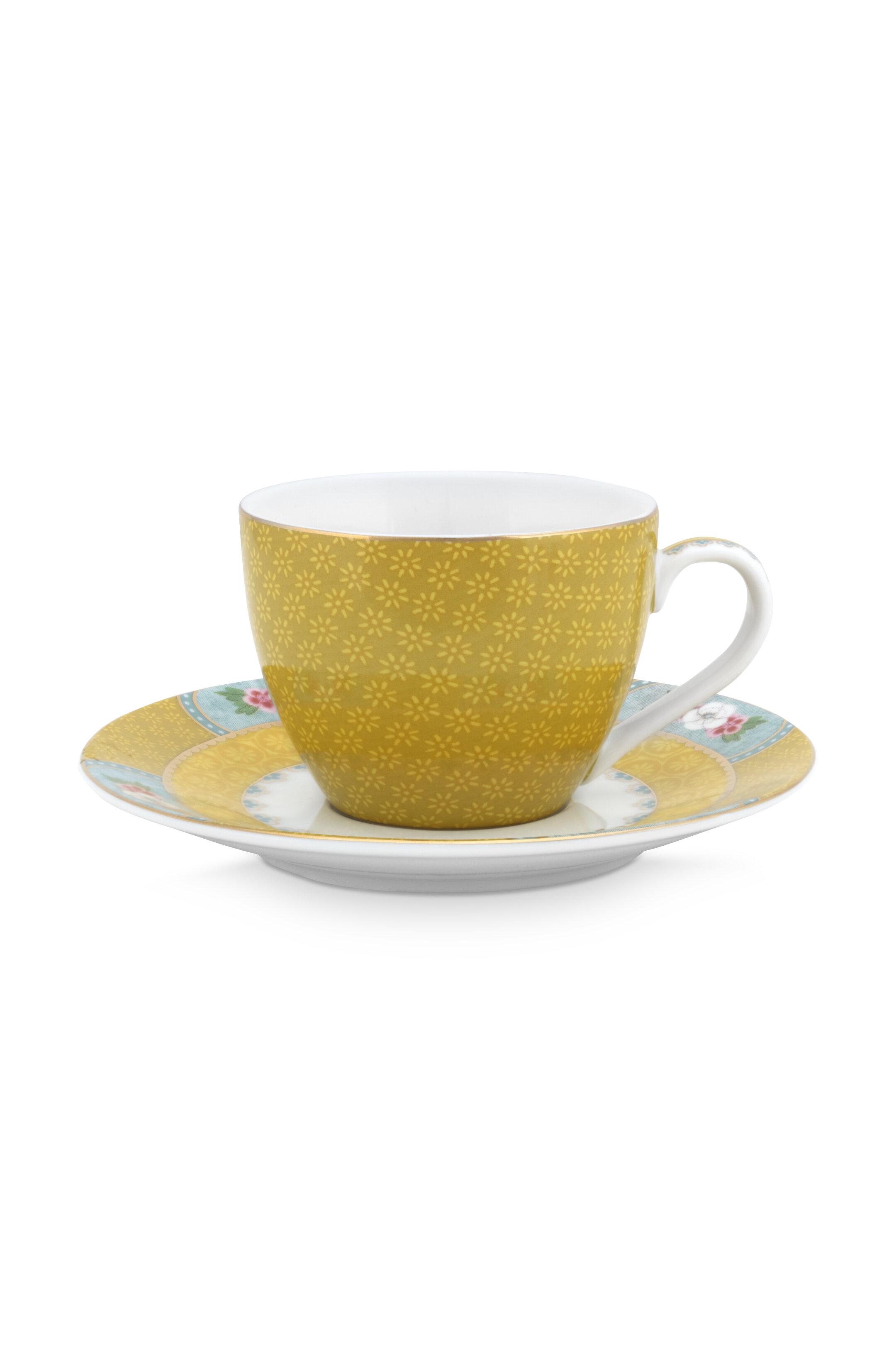 Pip Studio Blushing Birds Yellow Espressotasse & Untersetzer